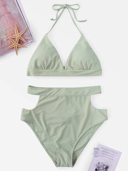 Self-tie Halter Neck Cut Out Design High Waist Bikini Set in Light Green