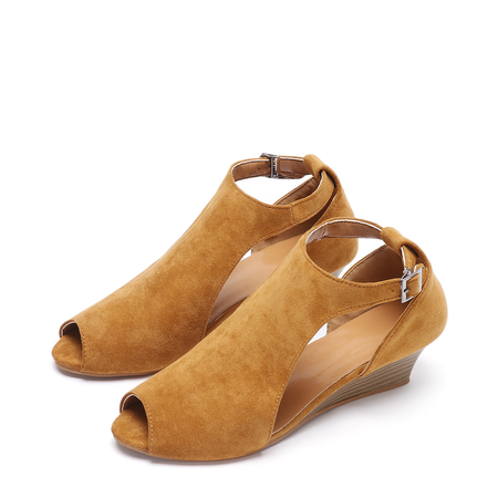 Brown Peep Toe Wedge Design Sandals