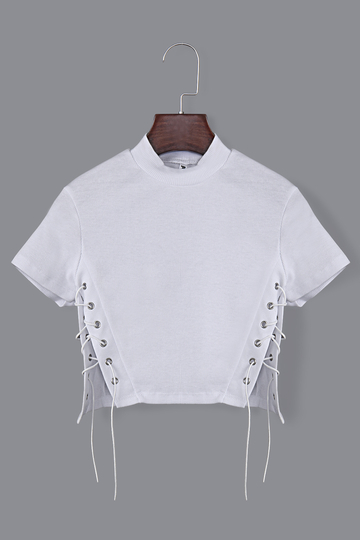 Fashion Crew Neck Lace-up Design Crop Top In White