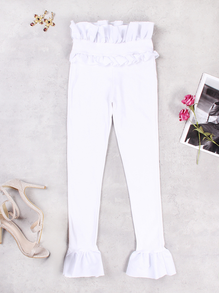 White High-rise Ruffle Design Bodycon Pants