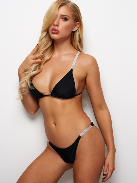 Black Sexy Sequins Details High-waisted Triangle String Bikini Set