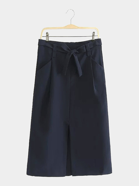 Tie Waist Midi Skirt with Pockets