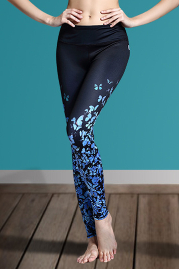 Active Random Floral Print Quick Drying Elastic Waist Sports Leggings in Blue