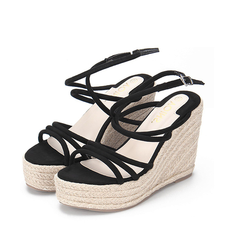 Black Suede Look Crossing Straps Wedge Sandals