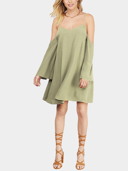 Loose Cold Shoulder Cross Backless Cami Mini Dress