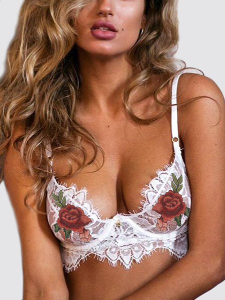 White Embroidered Lace Bralette Top