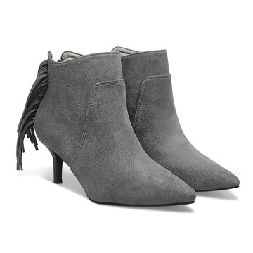 Suedette Heeled Ankle Boots with Tassel