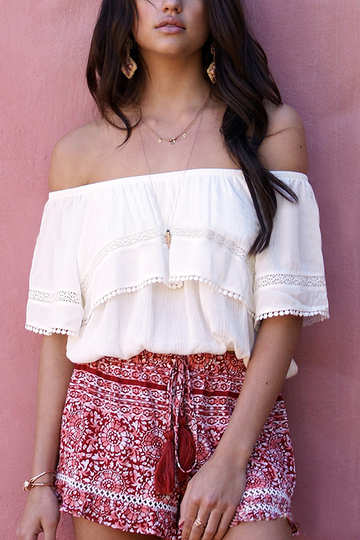 White Lace Details Off Shoulder Flouncy Top