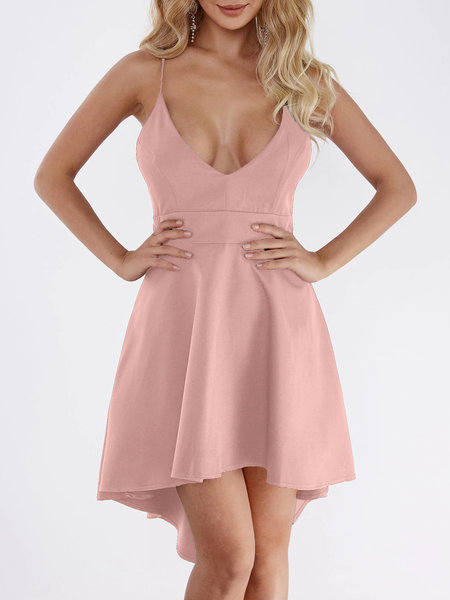 Pink Cut Out & Lace Back Irregular Hem Dress