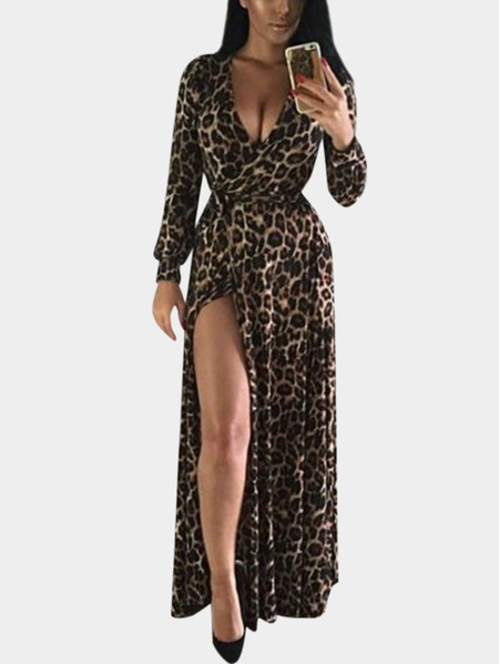 Sexy V-Neck Leopard Long Sleeves High Waisted Slit Maxi Dress