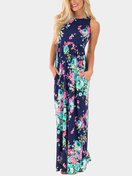 Navy Sleevesless Random Floral Print Maxi Dress