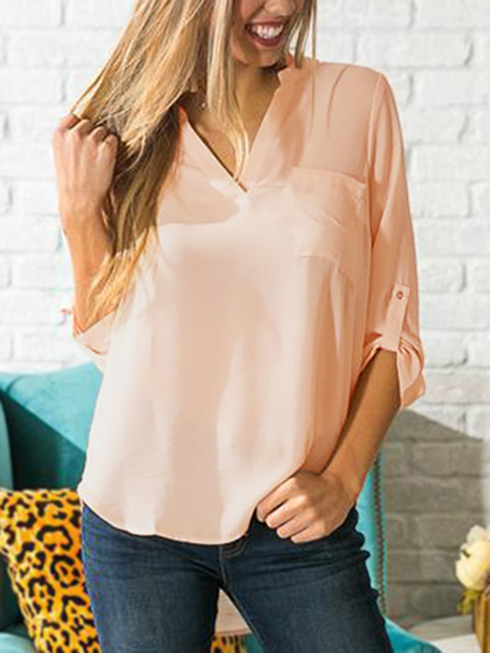 Beige Single Pocket Detail V-neck Curved Hem Chiffon Blouse