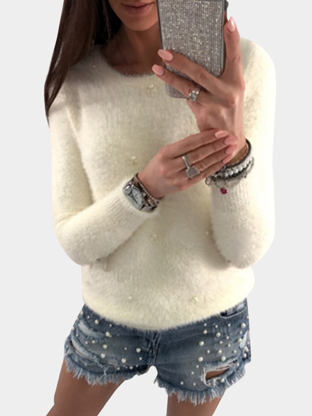 White Beading Embellished Long Sleeves Sweaters