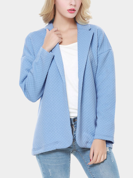 Blue Fashion Collar Long Sleeves Open Front Blazer