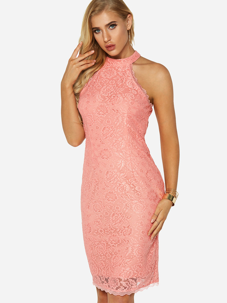 Pink Lace Details Embroidered Halter Sleeveless Midi Dress