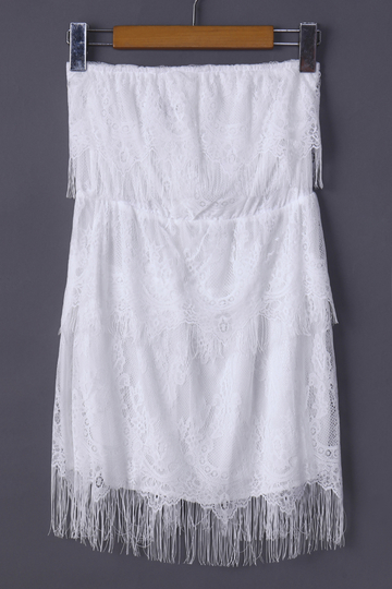 White Tube Mini Dress with Lace Details