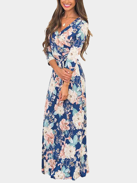 Royalblue Self-tie Design Robe maxi à encolure en V à imprimé floral aléatoire