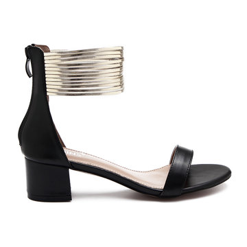 Black Leather Look Zip Closure Block Heel Sandals With Gold Circles