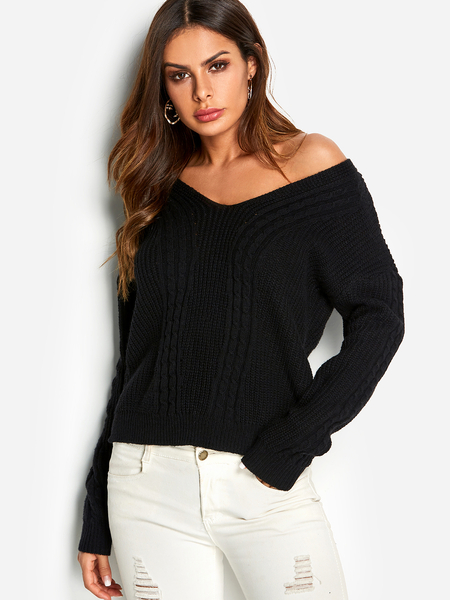 Black Crossed Back Design V-neck Long Sleeves Cable Knitted Sweater