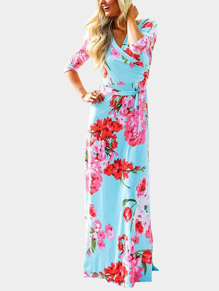 Blue Self-tie Design Random Floral Print V-neck Maxi Dress
