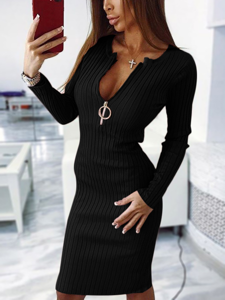 Black Round Neck Zipper Front Stripe Midi Dress