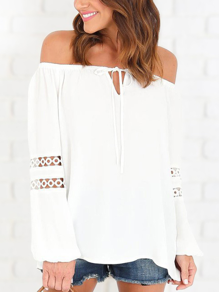 White Off Shoulder Tie-up Hollow Out Long Sleeves Blouse
