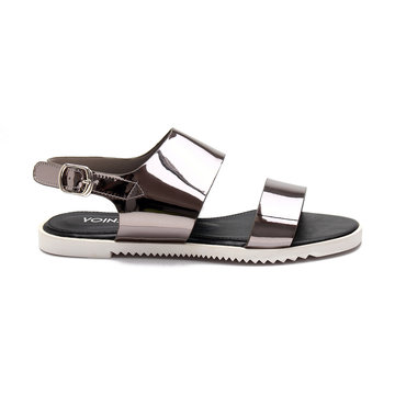 Silver Metallic Upper Strap Across Flat Sandals