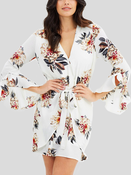 Random Floral Print V-neck Long Sleeves Dress in White