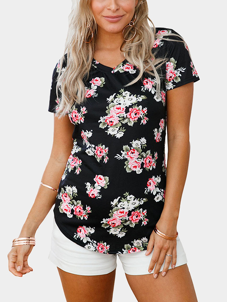 Black Floral Print V-neck Short Sleeves Curved Hem Tee