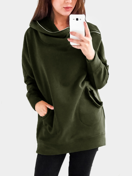 Army Green Hooded Zip Design Side Pockets Sweatshirts
