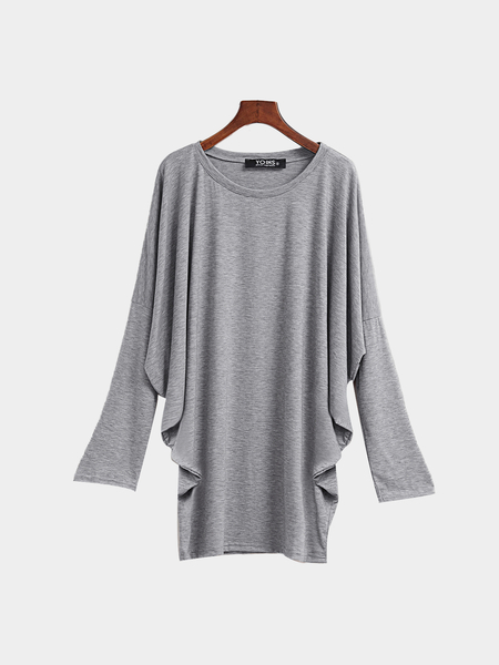 Round Neck Bat Sleeves Top Blouse