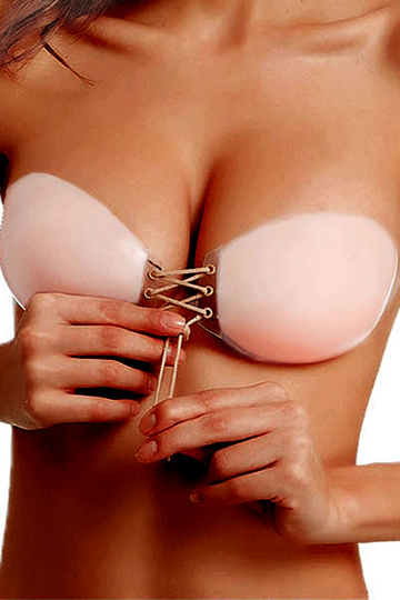 Strapless Stick On Backless Self-Adhesive Lace-up Front Silicone Uplift Bra