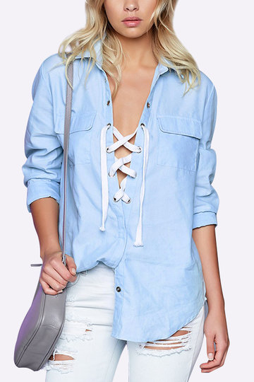 Bleu Lapel Collar Lace-up Design Chemise