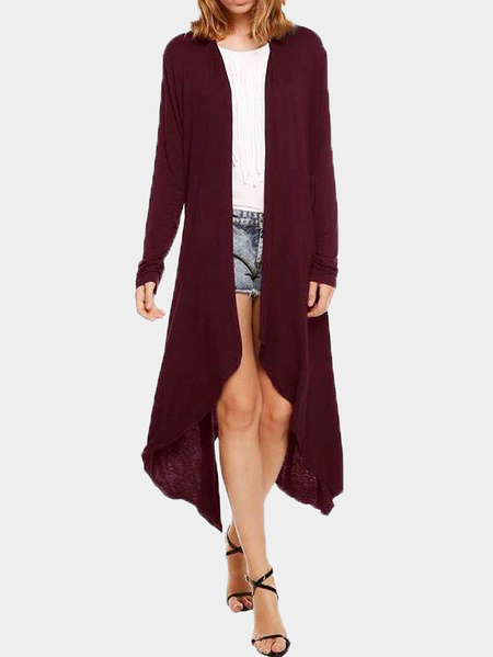 Burgundy Open Front Irregular Hem Thin Cardigan