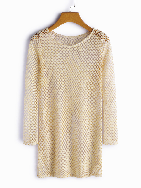 Khaki Hollow Design Round Neck Long Sleeves Beachwear
