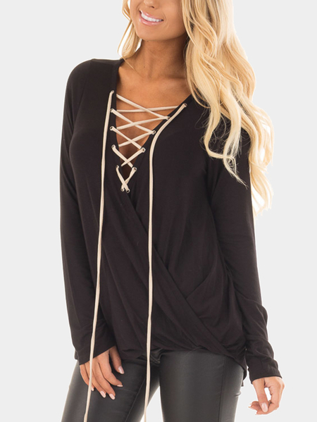 Black Cace-up Front Crossover Top
