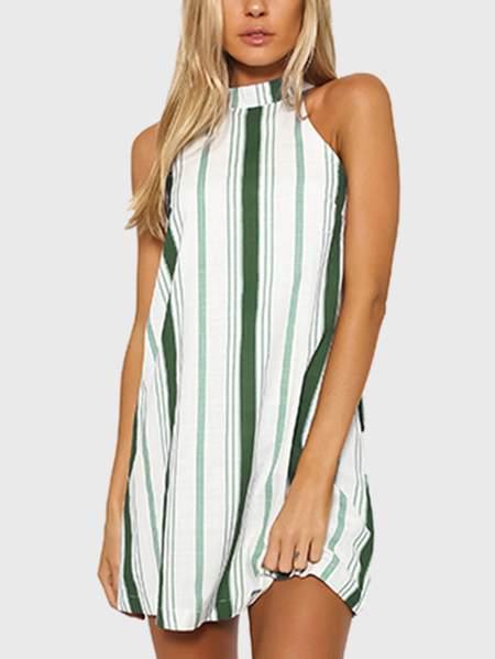 Green Stripe Halter Neck Mini Dress