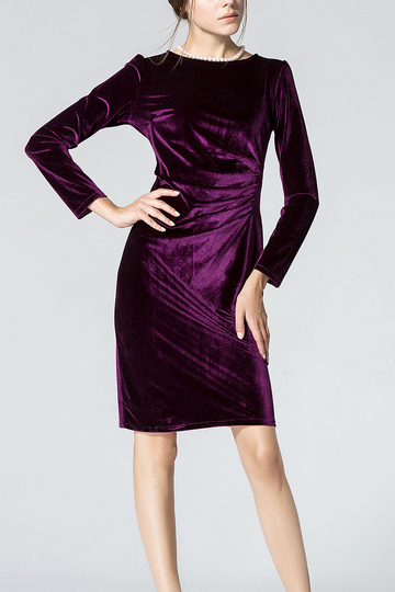 Purple Long Sleeve Body-Conscious Velvet Dress