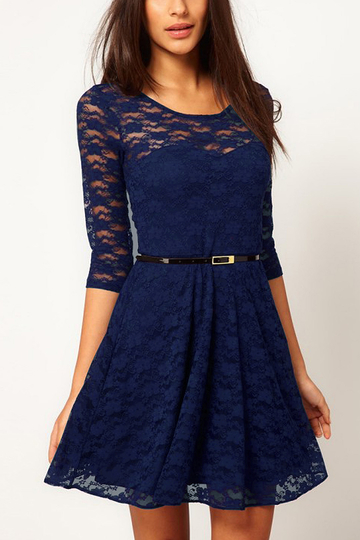 Navy Lace Skater Dress with Belt
