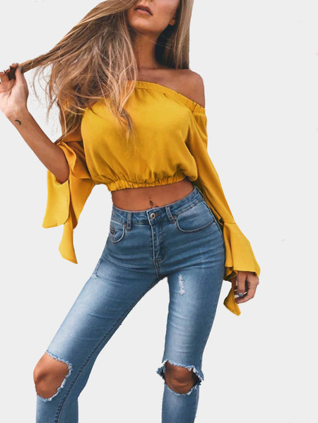 Yellow Off-The-Shoulder Long Flared Sleevess Crop Top