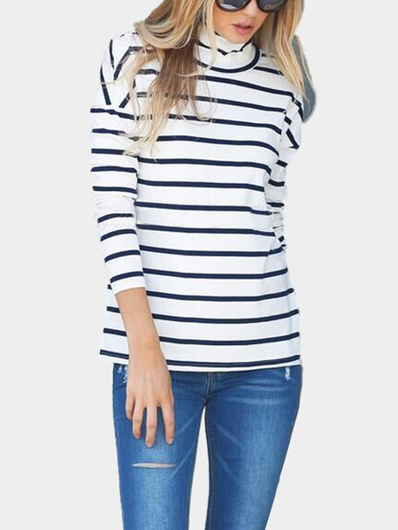 Sexy Hollow Polo Neck Stripe Pattern T-shirt