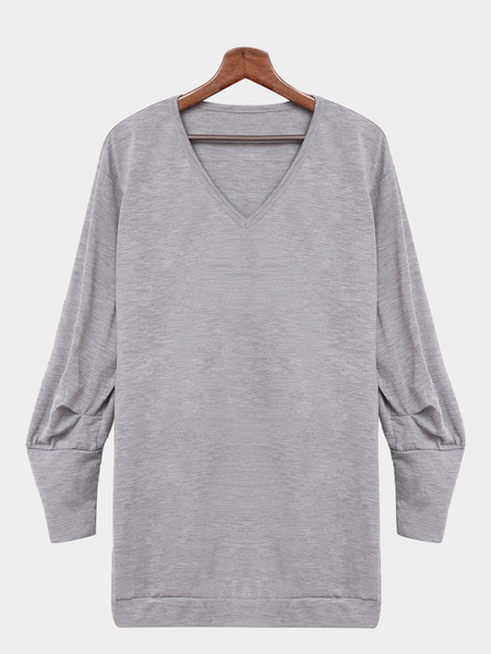 Gray V-neck Casual Long Sleeves Sweatshirt