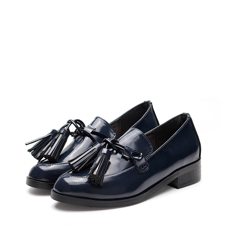 Blue Leather Look Tie Front With Tassel Low Heel Loafers