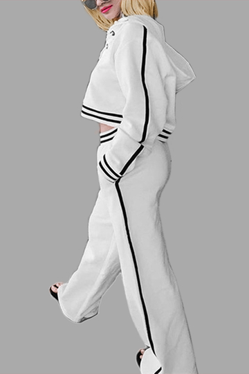 Active Cut Out Top & Wide Leg Pants in White