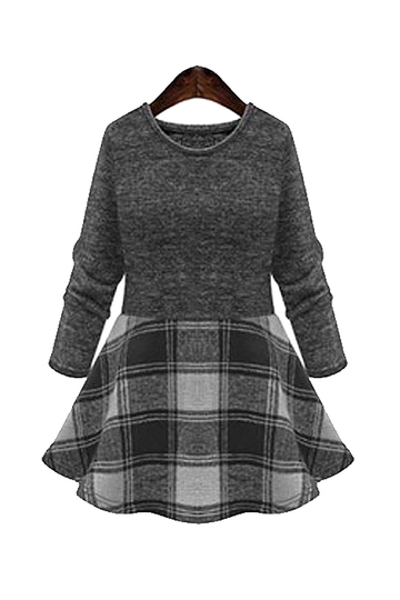 Plus Size Grey and White Checked Skater Dress