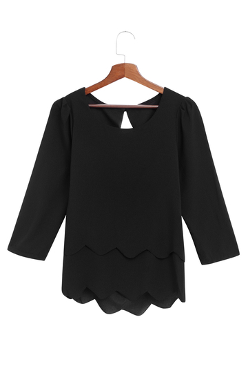 Black Sexy Backless Layered Chiffon Blouse