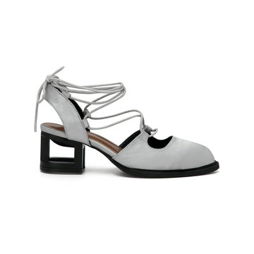 Grey Satin Look Hollow Heel Pointed Toe Lace-up Slingback Shoes