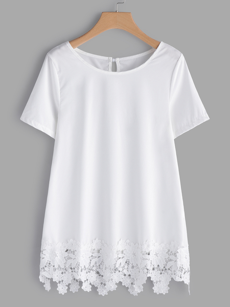 White Lace Details Round Neck Short Sleeves T-shirts