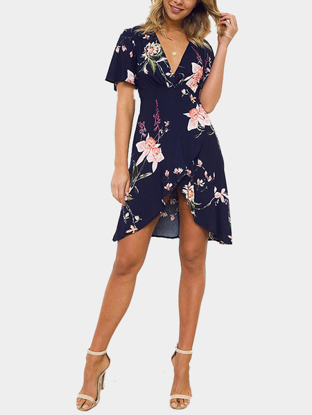 Navy Random Floral Print Splited Dress
