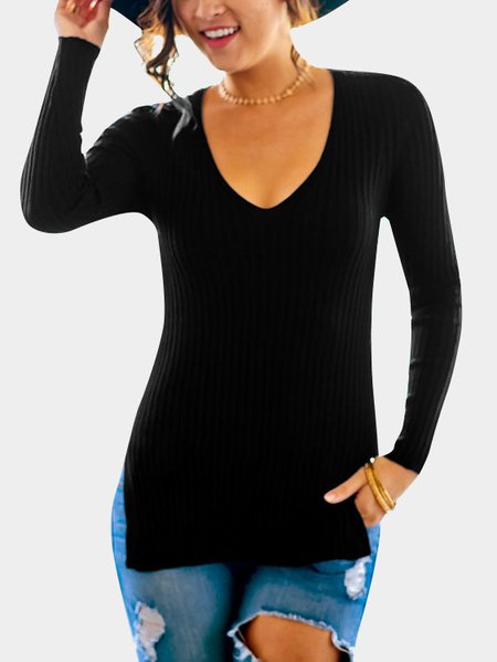 Black Knitting V-neck Slit Hem Shirt